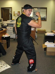 The author costumed as a Cobra Kai student.